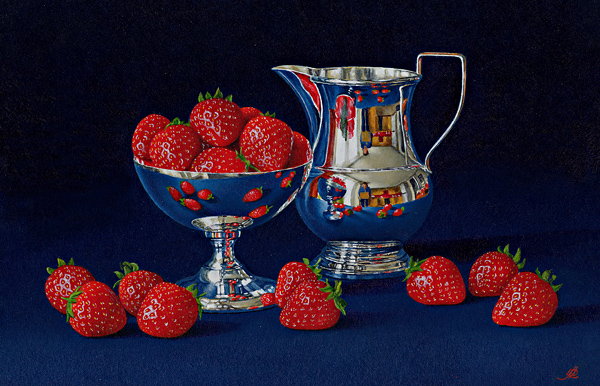 Strawberries with a Silver Dish and Jug