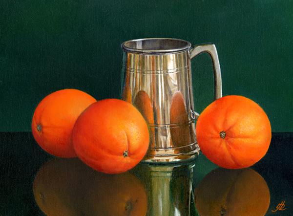 Three Oranges and a Pewter Mug