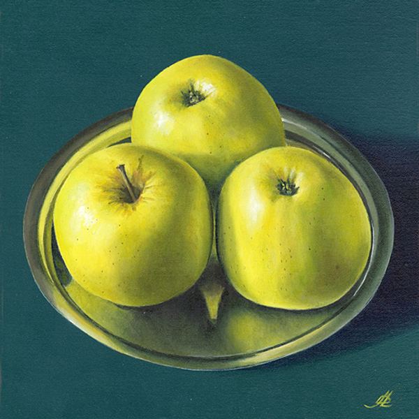 Three Apples on a Pewter Plate