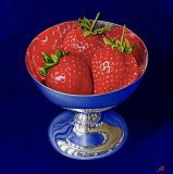 Three Strawberries in a Silver Dish