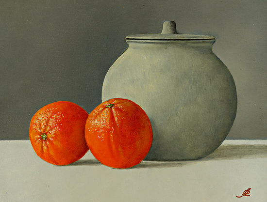 Two Oranges and a Ginger Jar