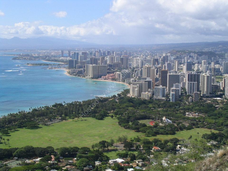View over Honolulu and Waikiki from Diamond Head