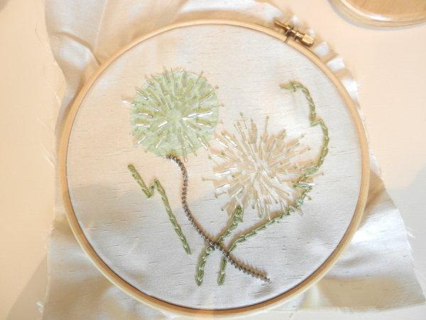 Dandelion 's - beads and metallics on silk