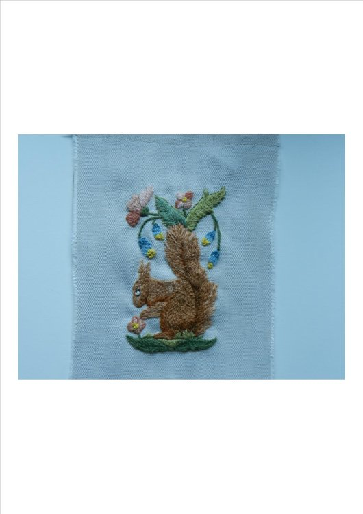 """""""Squirrel Nutkin"""" before being incorporated into a quilt"""