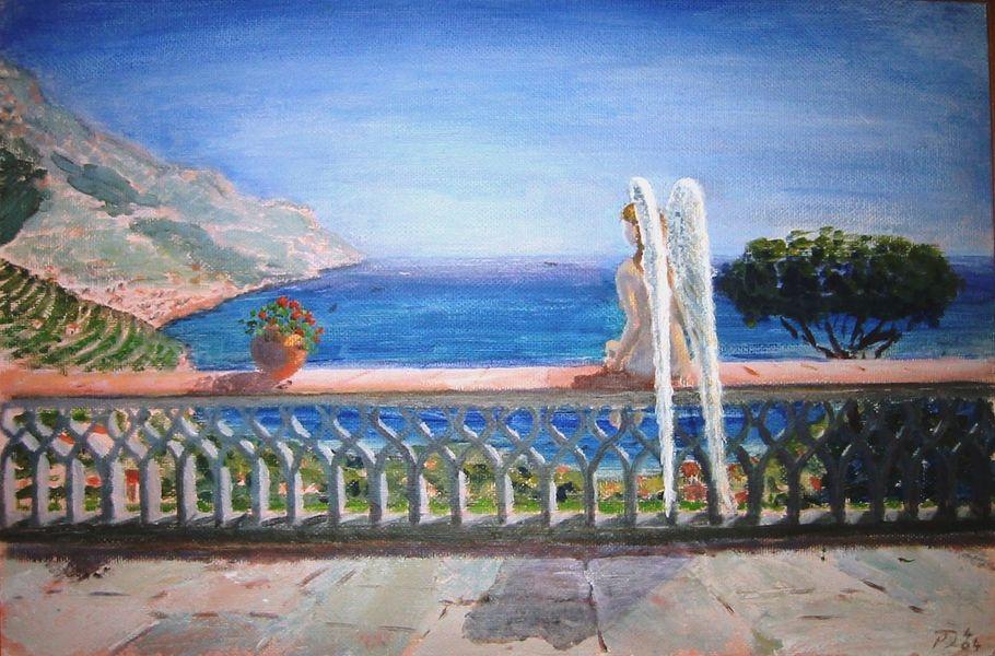 Angel at Ravello, acrylic on canvas