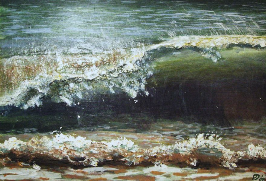 Breaking wave, acrylic and plaster on canvas (SOLD)
