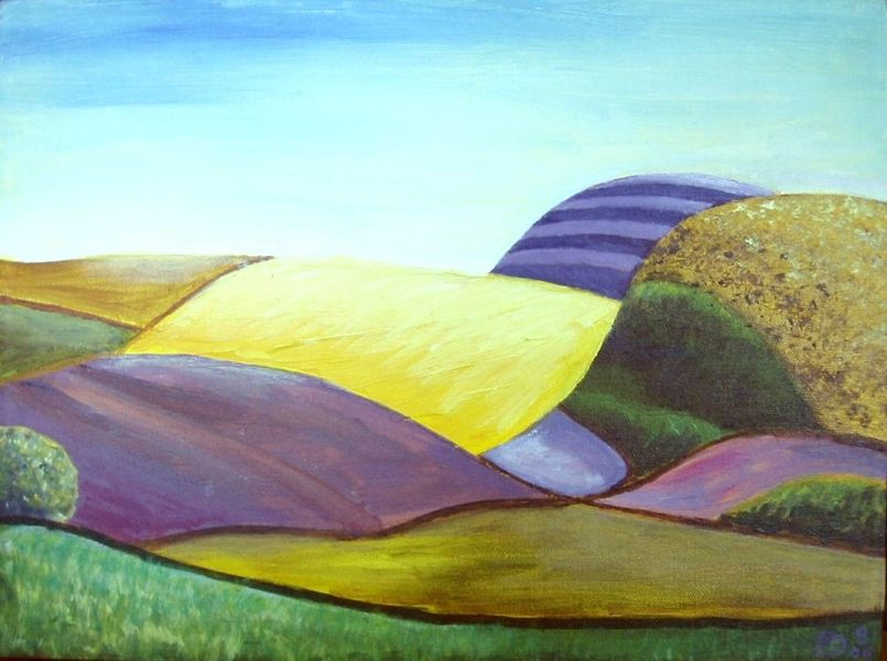 Hills near Brunton, acrylic on canvas