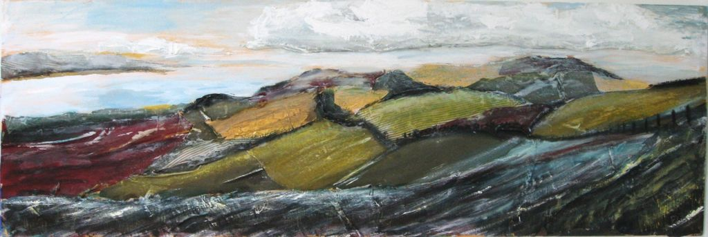 Coastal hills, acrylic and collage on canvas