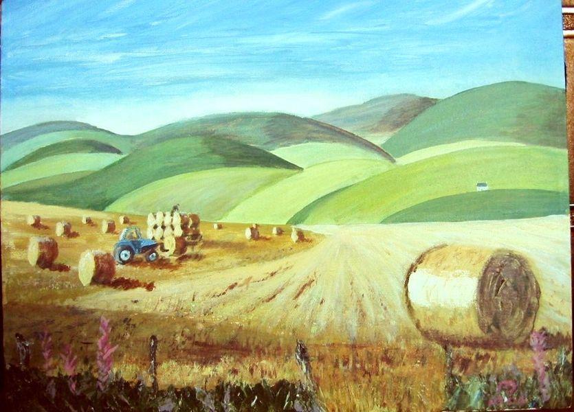 Collairnie fields, acrylic on canvas