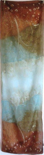 Birch Wood 2015 150x40cm crepe de Chine batik COMMISSION