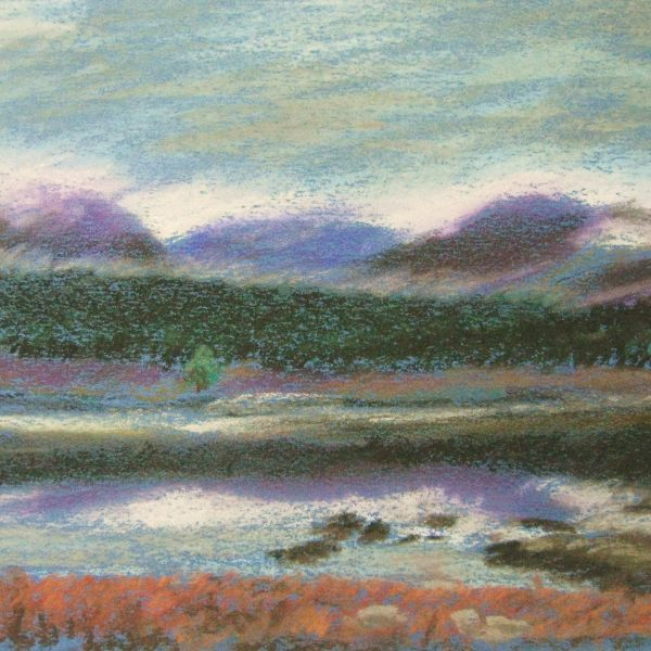 Loch Eigheach (pastels) printed on Georgette 70x70cm 4 printed SOLD