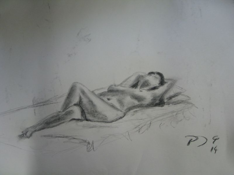 Resting, charcoal on paper