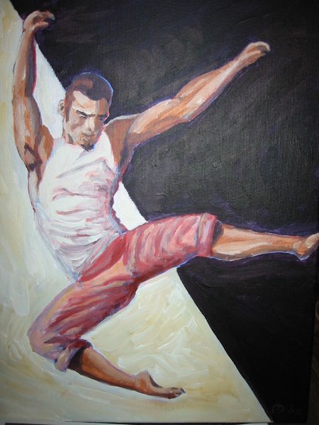 Leaping man, acrylic on canvas