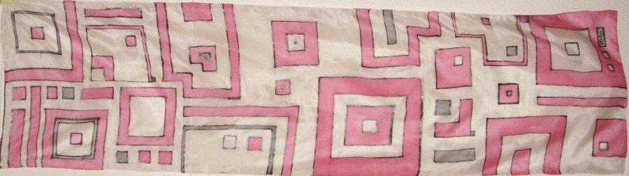 'Pink City' pongee 5 150x40cm COMMISSION