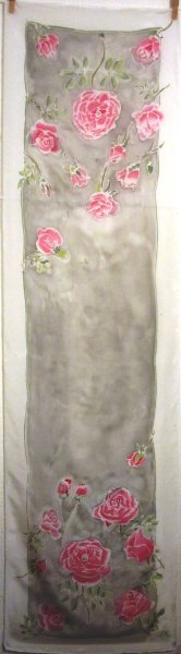 Pink roses and pearls 2016 crepe de Chine 150x40cm COMMISSION