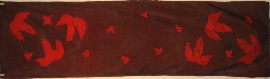 Red Leaves 150x40 cm Crepe de Chine batik £35