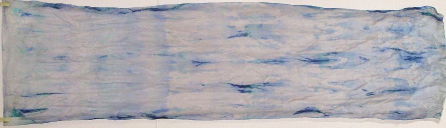 Silver Blue Abstract 150x40 cm Pongee 5 Shibori  SOLD