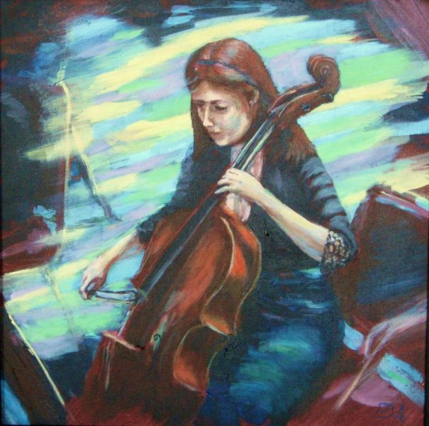 Cello player, acrylic on canvas