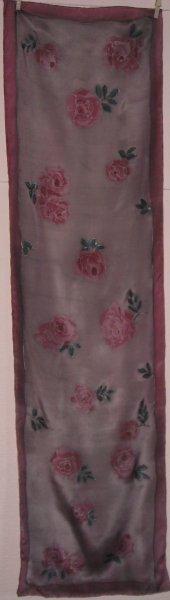 Winter Roses 2014 150x40cm Crepe de Chine COMMISSION