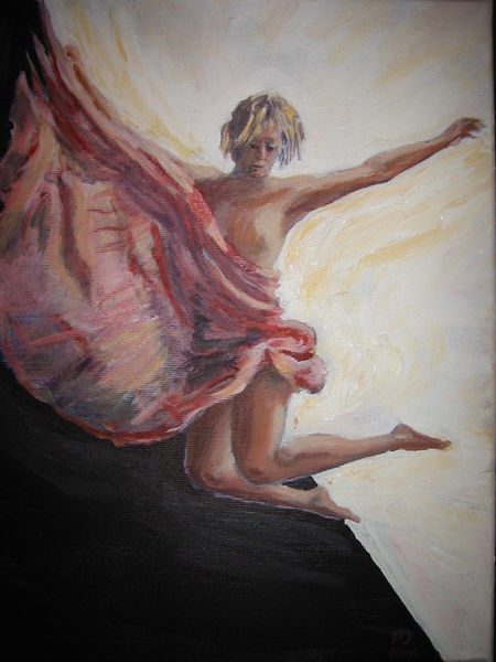 Leaping girl, acrylic on canvas