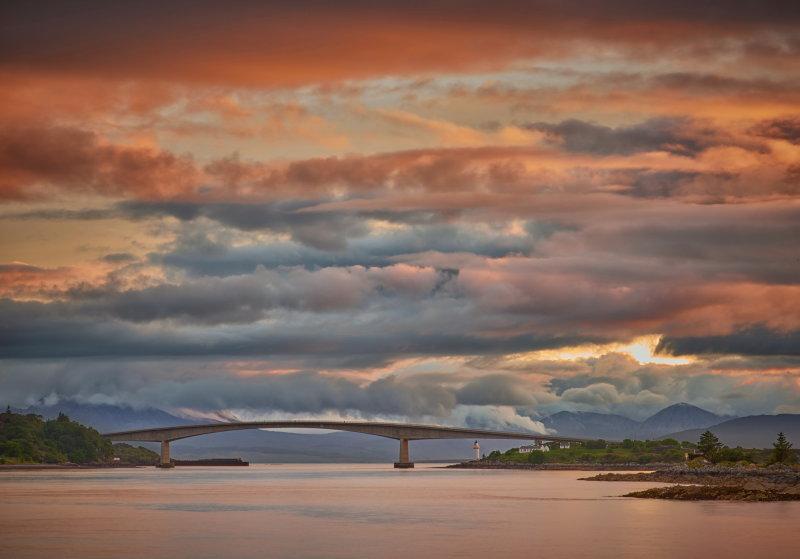 Skye bridge after sunset