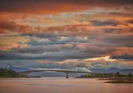 Skye bridge after sunset