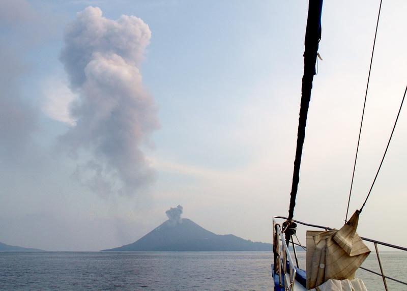 sailing towards Krakatau