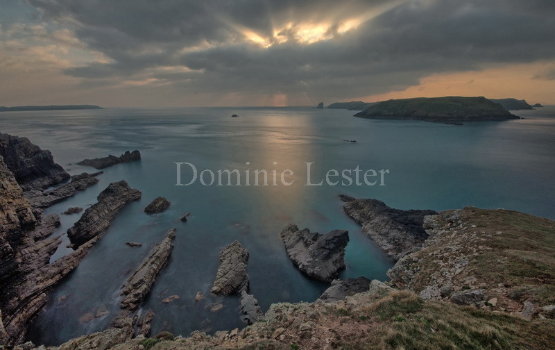 Facing Skomer before sunset