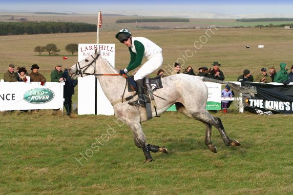 A winner crosses the line at the Larkhill Point to Point races.