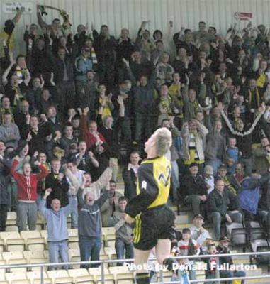 Joy after a Dumbarton goal