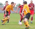 Jamie Lyden on the attack against St Mirren