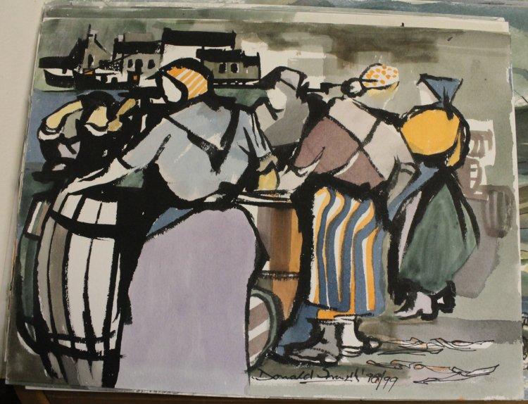 Fishergirls, ink, watercolour, 1998