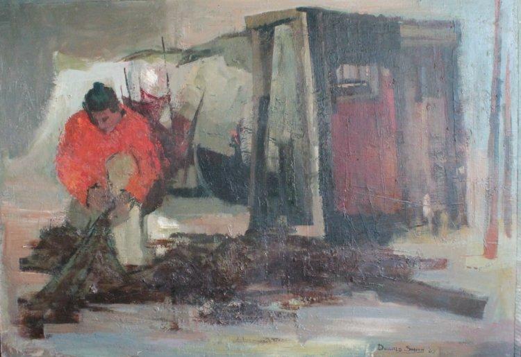 Salmon Fisher, oil panel, 108 x 77, 1965
