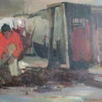 Salmon Fisher, oil panel, 108 x 77, 1965