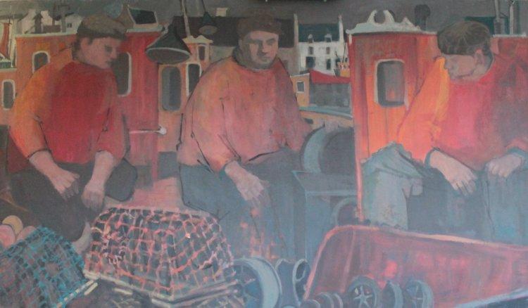 Three Fishermen, OIl panel, 209 x 122, 1990