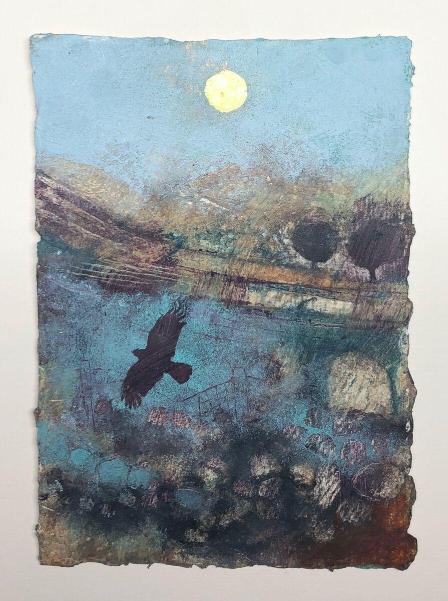 Crow and gold sun (sold)