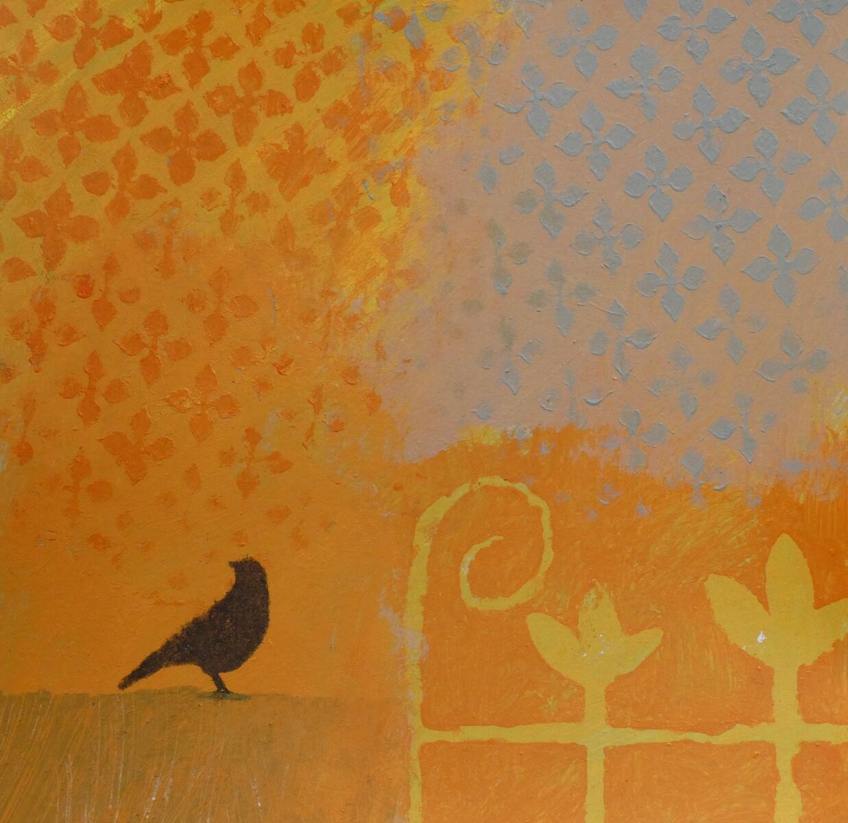 Crow, gate and curtain