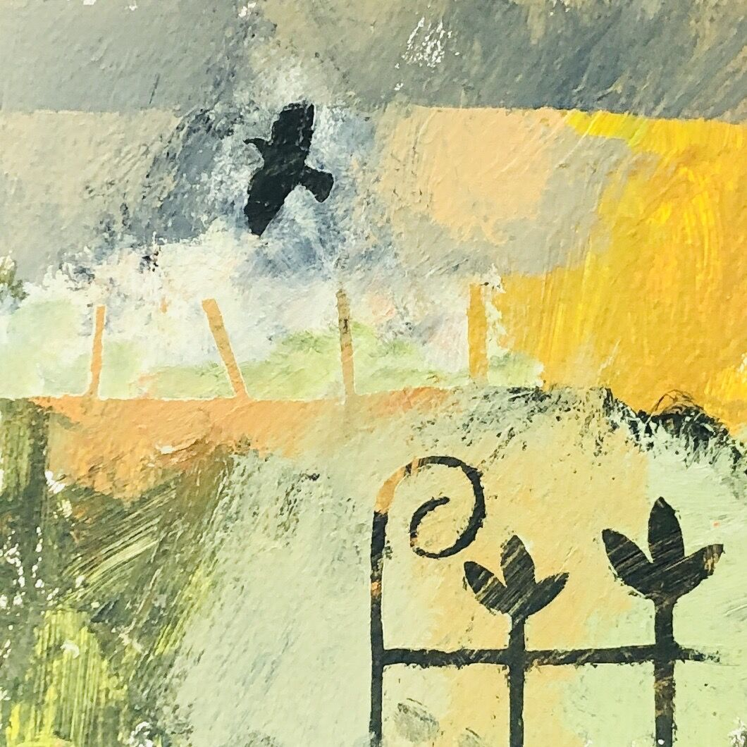 Fence, gate and crow