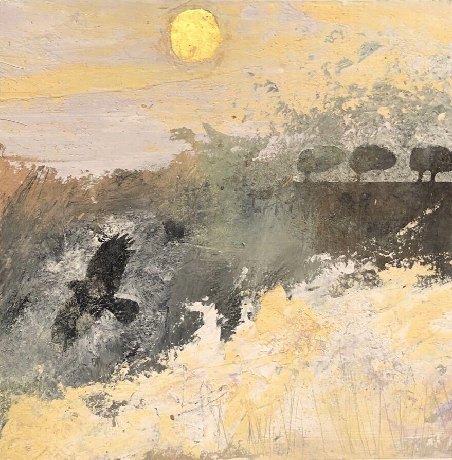 Sun crow and trees