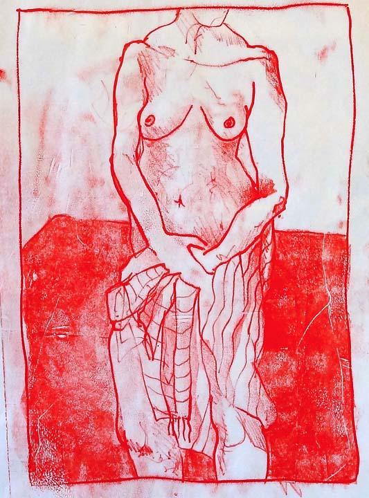 Woman and cloth monoprint