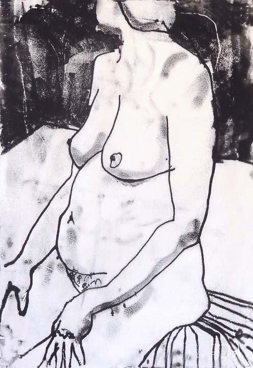 Woman on cloth monoprint