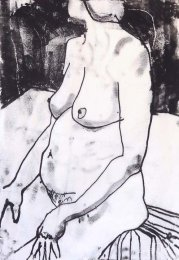 Woman on cloth monoprint