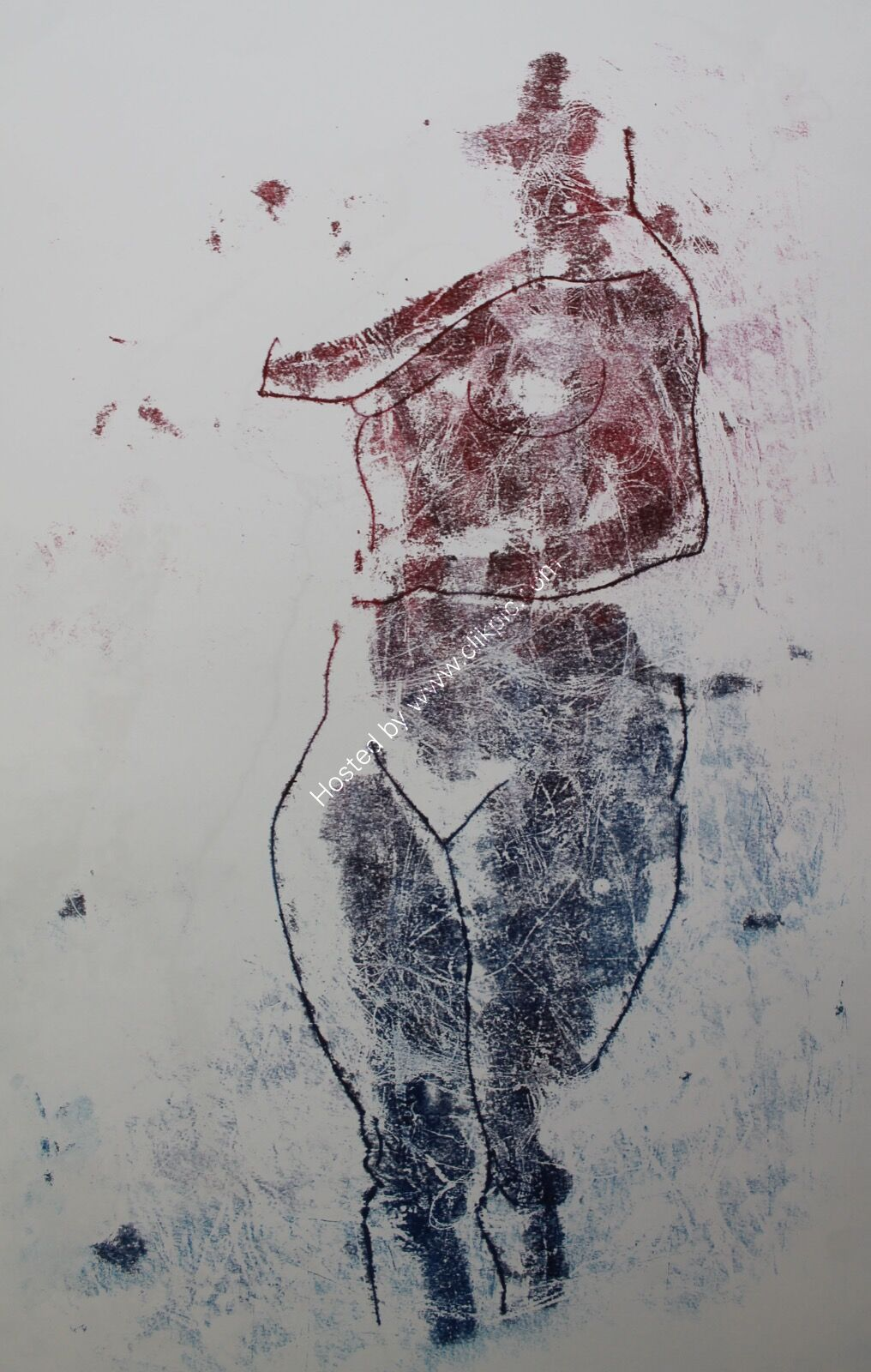 Mono 140. Life study in red & blue.