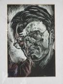 Self portrait on scratch card. 1985