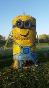 Minion Straw Bale Sculpture 3