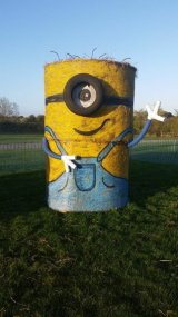 Minion Straw Bale Sculpture 1