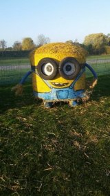 Minion Straw Bale Sculpture 2