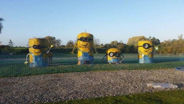 Minions Straw Bale Sculptures