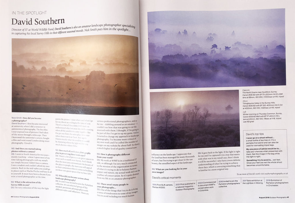 Outdoor Photography Magazine Article, August 2018