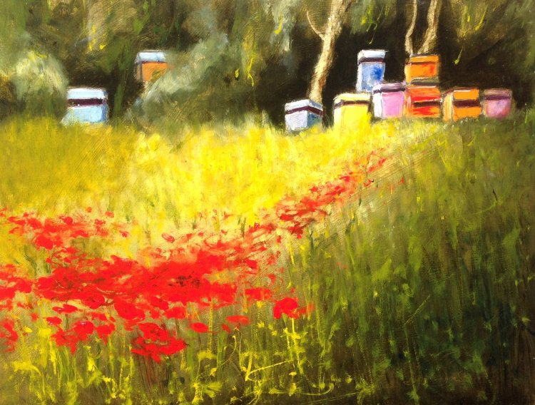 Beehives Over Poppies